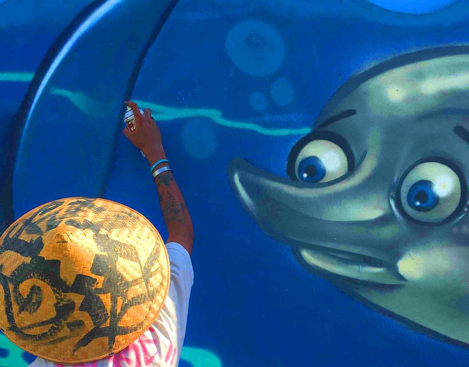 Dolphin Mural in Bali